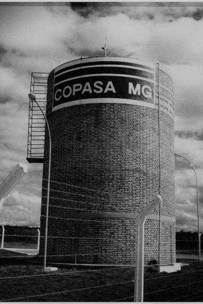 Reservatório de água tratada em alvenaria de tijolo, primeira obra realizada para COPASA-MG no município de Rio Prado de Minas – MG